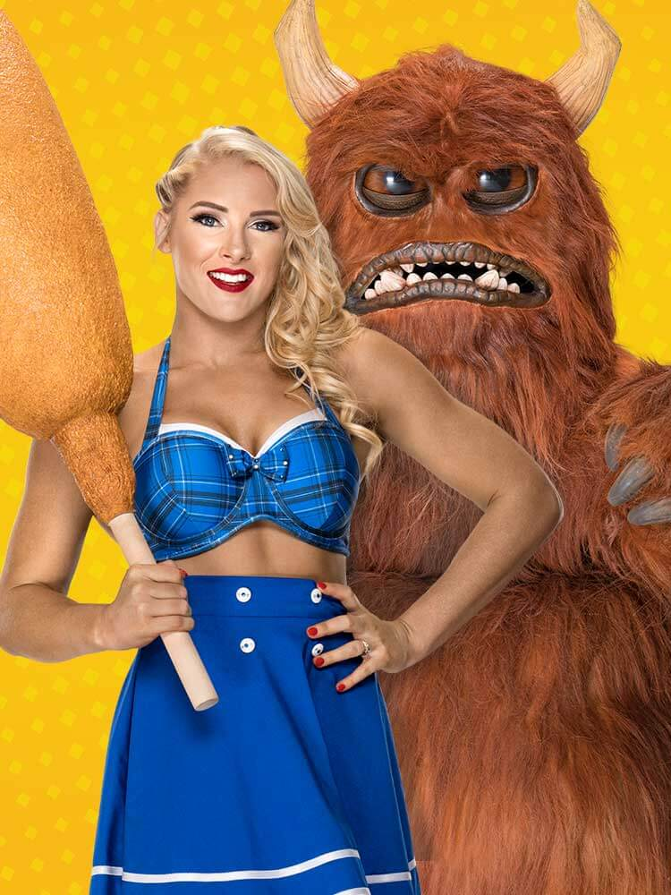 wwe superstar lacey evans with foster farms corn dogs monster