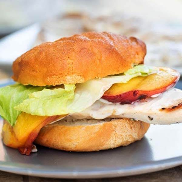 Grilled Chicken Burger with Peaches