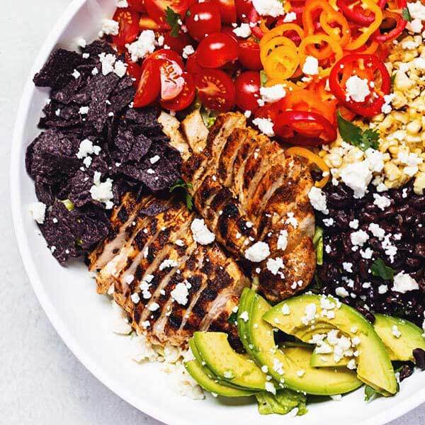 Grilled Chicken Southwestern Salad with Creamy Cilantro Lime Dressing